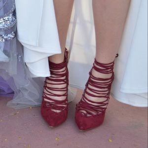Strappy maroon high heels